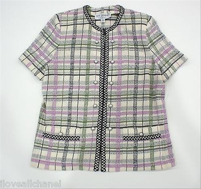 Preload https://item1.tradesy.com/images/st-john-collection-purplegreen-plaid-print-zip-knit-jacket-3594295-0-0.jpg?width=400&height=650