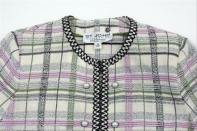 St. John St. John Collection Purplegreen Plaid Print Zip Knit Jacket