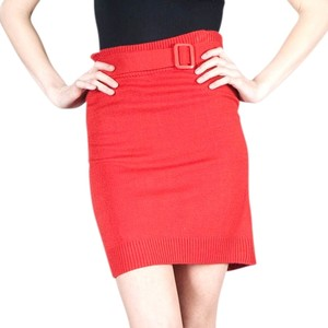 Tulle Star-studded Belted Sweater Knit Small Medium Skirt rust
