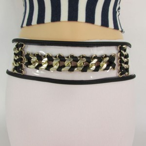 Other Women Hip High Waist Gold Metal Chains Elastic Black Fashion Belt 34-43