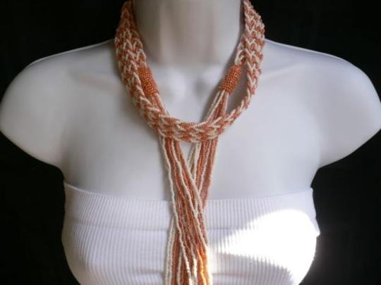 Other Women Necklace Fashiontie Multi Chains Long Coral White Beads Braided Design