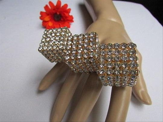 Other Women Ring Fashion Big Gold Dices Metal Silver Rhinestones Elastic One