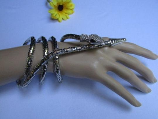 Other Women Necklace Bracelet Fashion Silver Metal Long Thin Snake Head Rhinestones