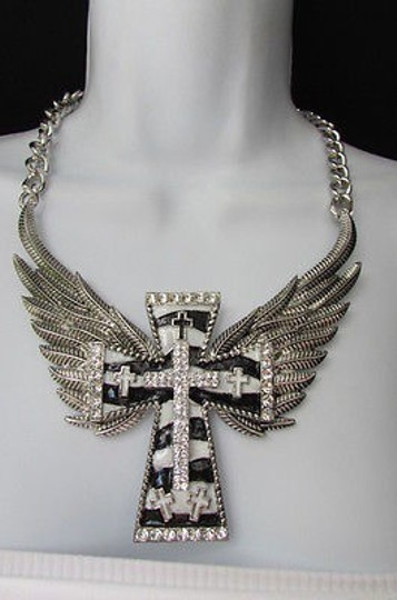 Other Women Necklace Fashion Silver Metal Wide Cross Eagle Wings Black White Stripes