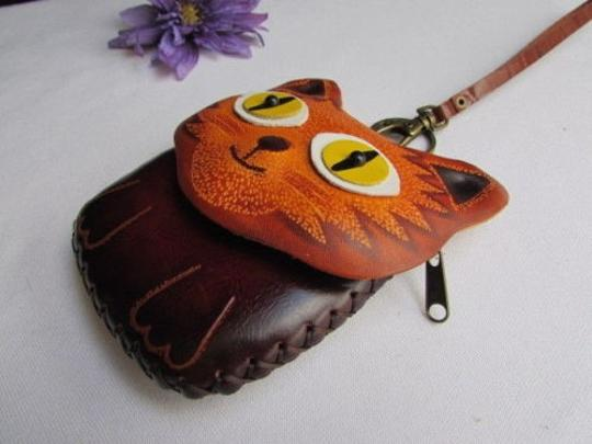 Other Women Wallet Bag Key Brown Cat Eyes Purse Coin Chain Genuine Leather