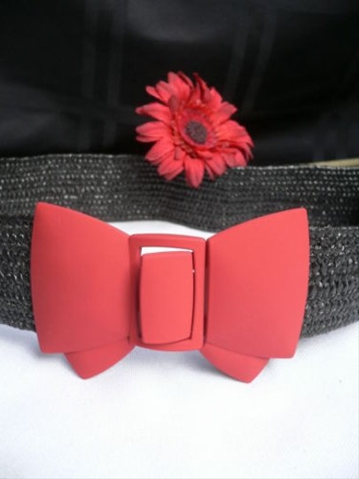 Other Women Belt Fashion Elastic Hip Waist Black Straw Red Mate Bow 25-35