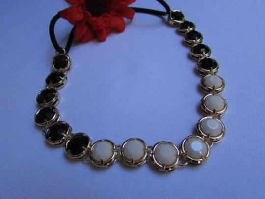 Other Women Chain Head Gold Metal Band Big Black White Beads Circlet Jewelry