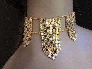 Other Women Necklace Fashion Gold Metal Mesh Trendy Choker Silver Rhinestones