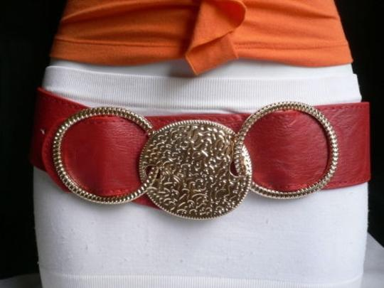 Other Women Belt Fashion Elastic Hip Waist Red Gold Moroccan Rings 27-35