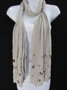 Other Women Gray Scarf Fashion Necklace Soft Fabric Multi Metal Spikes Skulls Pendants