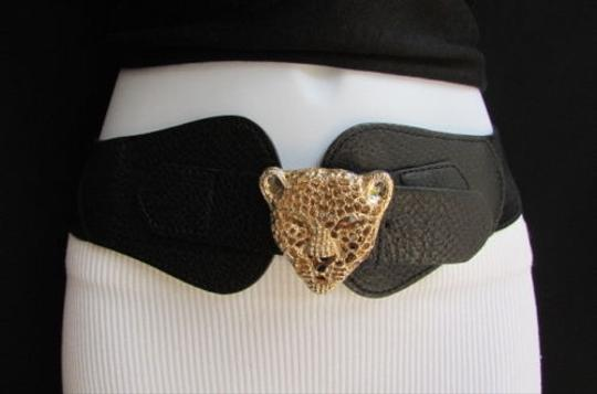 Other Women Belt Fashion Elastic Black Gold Panther Head Buckle 25-38 Xs-s-m-l