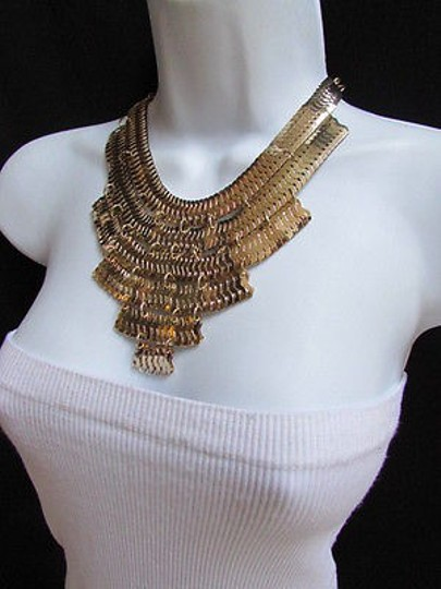 Other Women Necklace Wide Gold Thick Metal Strands Links Earrings Fashion Set