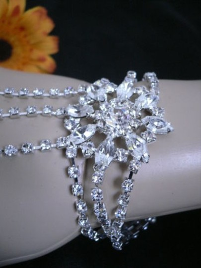 Other Women Bracelet Ring Silver Metal Body Hand Chains Slave Flowerrhinestones