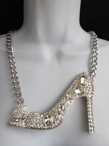 Other Women Necklace Earring Set Metal High Heel Fashion Big Shoe Pendant Chunky