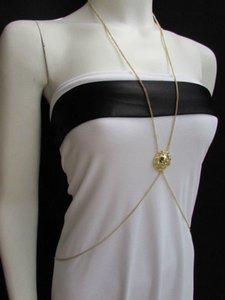 Other Women Gold Long Beads Metal Fashion Body Chain Jewelry Hot Trendy Necklace