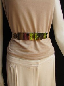 Other Women Belt Gold Metal Plate High Waist Hip Links Gold Elastic 26-36