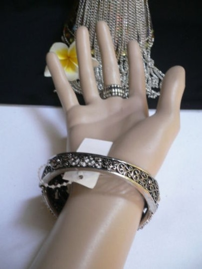 Other Woman Bracelet Silver Cuff Slave Connected Big Butterfly Ring Brown Flowers