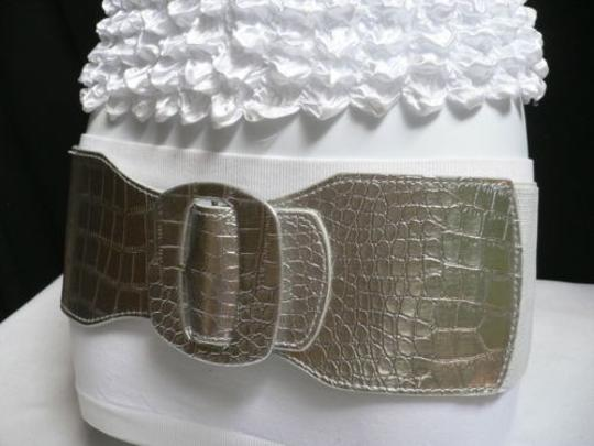 Other Women Belt Elastic High Waist Hip 4 Wide Faux Leather Silver 26-34