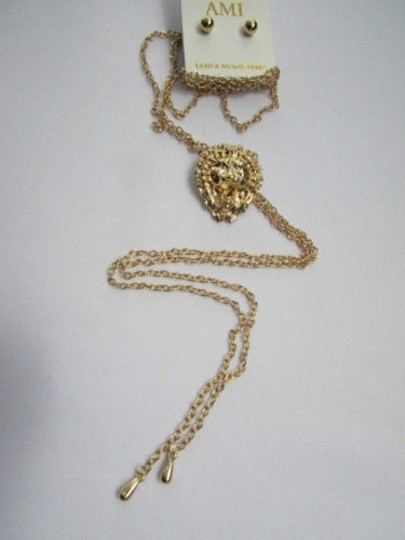 Other Women Necklace Earring Set Fashion Long Gold Thin Chains Lions Pendant