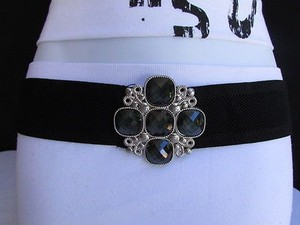 Women Belt Fashion Hip Waist Elastic Black Beads Cross Buckle 30-35