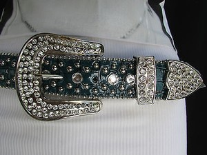 Other Women Belt Buckle Turquiose Blue Leather Western Boot Horseshoe Silver
