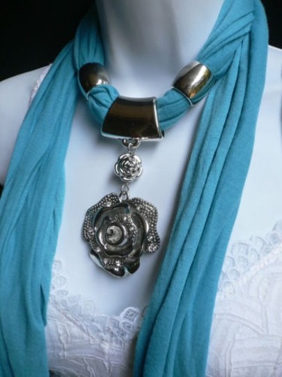 Other Women Necklace Scarf Blue Soft Fabric Silver Rhinestones Big Flower Pendant