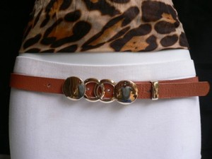 Other Trendy Women Belt Fashion Thin Orange Gold Circles Metal Buckle 33-38