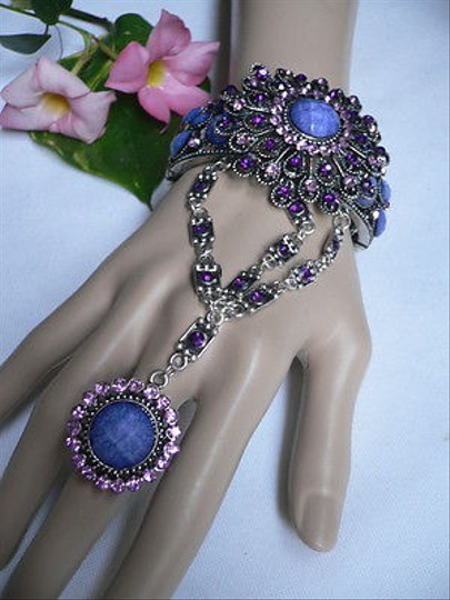 Other Women Bracelet Silver Metal Cuff Flower Slave Ring Blue Purple Rhinestones