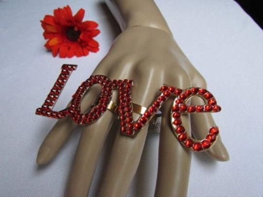 Other Women Ring Fashion Statement Love Gold Metal Red Rhinestones One