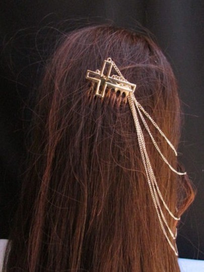 Other Women Hair Pin Cross Gold Chains Cuff Earring To Connected Headband Claw