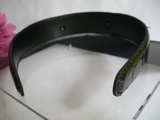 Other Women Headband Fashion Black Faux Patent Leather Two Top Gold Horses Detail