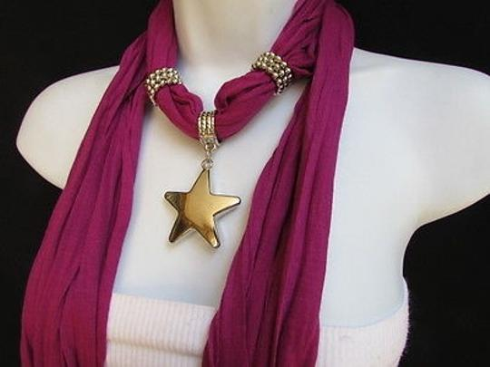Other Women Soft Scarf Necklace Purple Fashion Big Silver Christmas Star Pendant