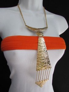 Western Women Gold Metal Chain Fashion Necklace Long Chains Neck Long Tie Pendan