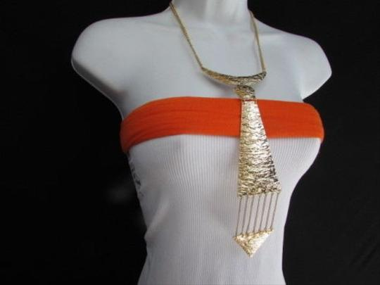 Other Western Women Gold Metal Chain Fashion Necklace Long Chains Neck Long Tie Pendan