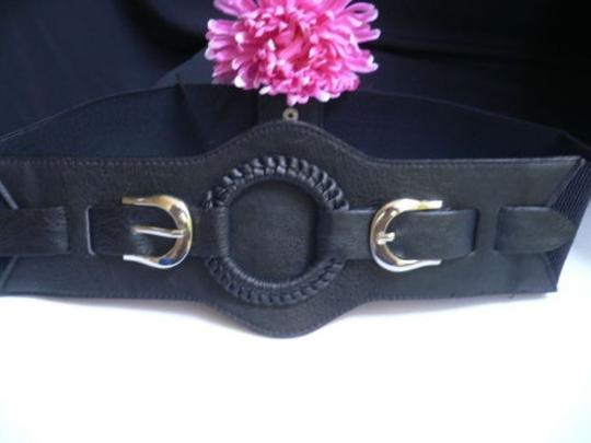 Other N. Women Belt Fashion Elastic Hip Waist Black Western Ring Silver Buckle