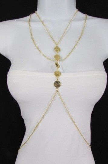 Other Women Gold Metal Circles Body Belly Chain Jewelry Hot Fashion Long Necklace