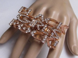 Other Women Ring Fashion Gold Metal Huge Trendy Black Girls Rock Silver Rhinestone