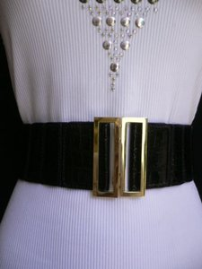 Other Women Elastic Black Faux Leather Hip High Waist Fashion Belt 25-35