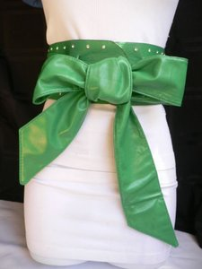 Women Belt Waist Hip Wrap Tie Green Big Bow Silver Rhinestones 27-35 S-m-l