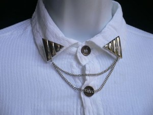Other Women Pins Silver Triangle Shirt Collar Blouse Tip Chains Rivet Western Punk