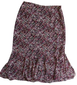 Emma James Petite Lined Skirt Black with Multi Color Geometric Print