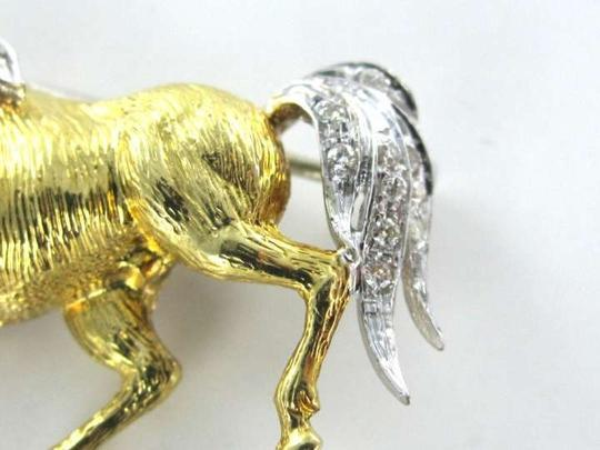 Other 18KT YELLOW WHITE GOLD PIN BROOCH 4.4DWT DIAMOND HORSE STUNNING FINE JEWELRY