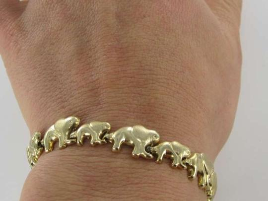 Other 14KT YELLOW GOLD ELEPHANT SOLID LINK BRACELET BANGLE 6.8dwt GOOD LUCK BABY LINK