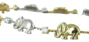 14K YELLOW WHITE GOLD ELEPHANT SOLID BRACELET BANGLE 6.8dwt GOOD LUCK BABY LINK