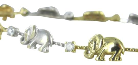 Other 14K YELLOW WHITE GOLD ELEPHANT SOLID BRACELET BANGLE 6.8dwt GOOD LUCK BABY LINK