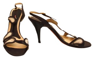 Marni Vintage Heels Kitten Heels Brown leather and Linen Sandals