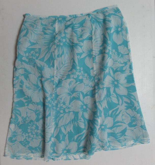 Le Suit Skirt Blue and White Floral Print