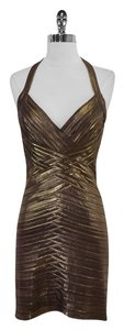 BCBGMAXAZRIA short dress Copper Metallic Bandage Halter on Tradesy