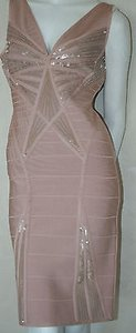Hervé Leger Silver Sequin Bandage Christy Dress