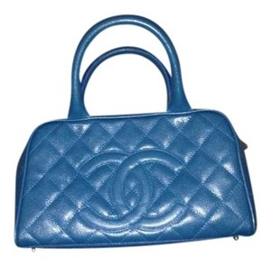 Chanel Quilted Leather Blue Satchel in Turquoise